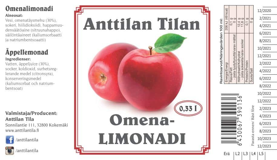Omenalimonadi 0.33l etiketti